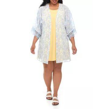 Wallflower Women's Plus Size Floral 2Fer Kimono Dress - -