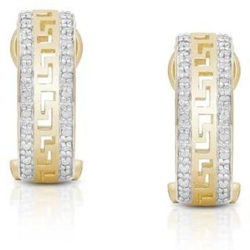 Finesque Sterling Silver 1/5ct TDW Diamond Greek Key Design Hoop Earrings (Gold)