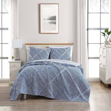 Laura Ashley Ditsy Dance Quilt Set with Shams, Blue, Full/Queen