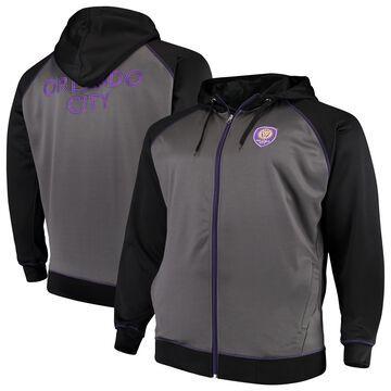 Men's Majestic Charcoal/Black Orlando City SC Big & Tall Poly Fleece Full-Zip Hoodie