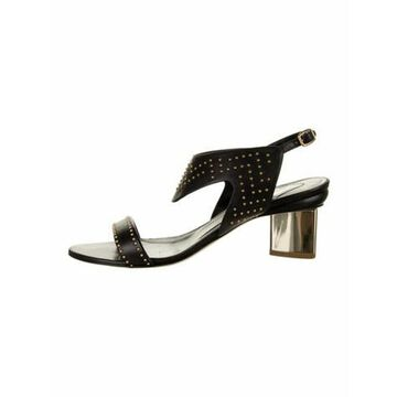 Patent Leather Studded Accents Slingback Sandals Black