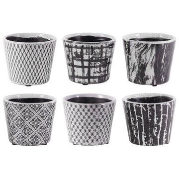 Urban Trends Collection: Terracotta PotGloss Finish Black, White