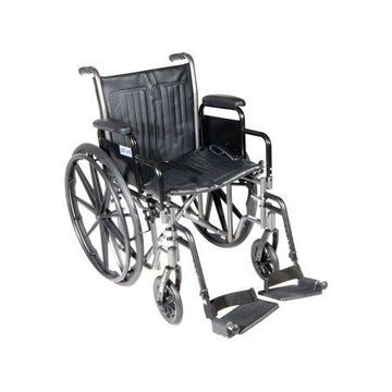 Drive Medical Silver Sport 2 Wheelchair, Detachable Desk Arms, Swing away Footrests, 16