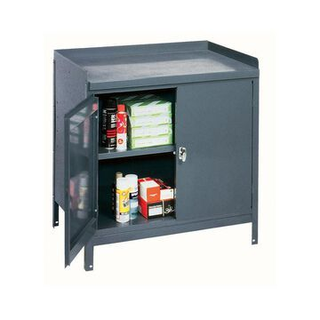 Industrial Gray Steel Cabinet Table