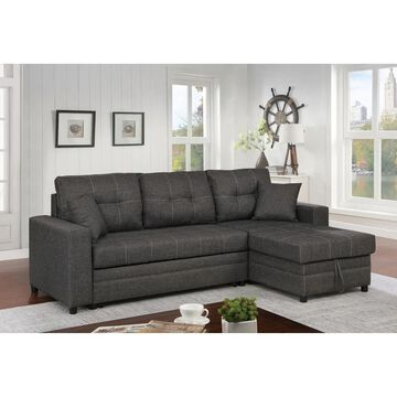 Furniture of America Pixi Contemporary Grey Fabric Sectional