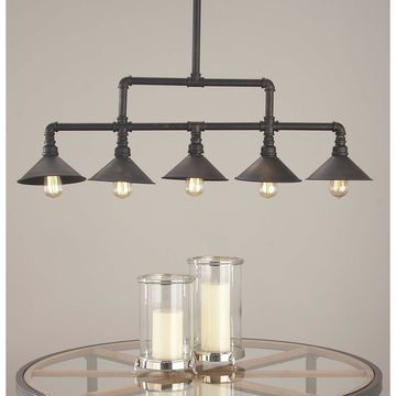 Contemporary 35 Inch Iron Five-Light Pipe Pendant by Studio 350