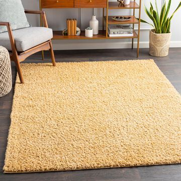 """Art of Knot Fourni Beige 5'3"""" x 7' Modern Solid Area Rug"""