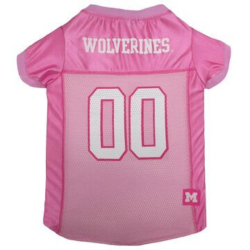 Pets First Michigan Wolverines Pink Jersey, Large