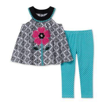 Little Girls 2-Pc.Floral Appliqué Tunic & Dot-Print Leggings Set