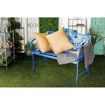 Farmhouse 38 x 48 Inch Blue Iron Bench by Studio 350