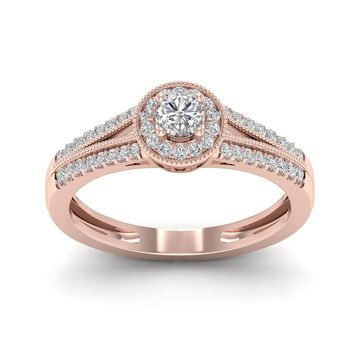 De Couer 1/3ct TDW Diamond Round Shape Halo Engagement Ring - Pink