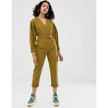 ASOS WHITE v-neck belted jumpsuit-Green