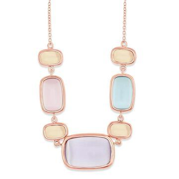 La Preciosa Sterling Silver Rose Gold, Champagne, Light Violet, Sakura Pink and Light Blue 16+2'' Cat Eye Necklace