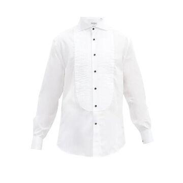 Brunello Cucinelli - Pintucked-bib Cotton-twill Tuxedo Shirt - Mens - White