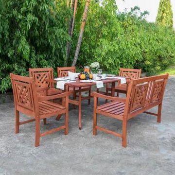 Vifah Malibu 6-Piece Curved Leg Outdoor Dining Set in Cherry