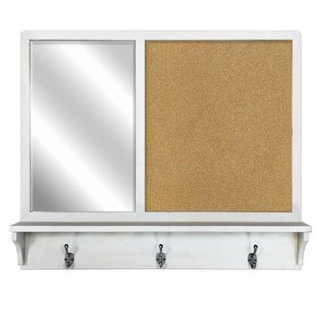 White Wall Mirror & Cork Board with Shelf by Ashland