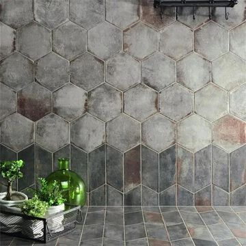 SomerTile 11x12.625-inch Anticato Grigio Hex Porcelain Floor and Wall Tile (15 tiles/11.42 sqft.)
