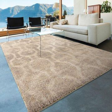 Orian Rugs Shag Hexagons Linked Up Ivory Area Rug