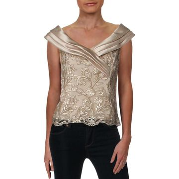 Alex Evenings Womens Dress Top Mesh Embroidered