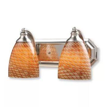 Elk Lighting 2-Light Vanity In Satin Nickel And Coco Glass