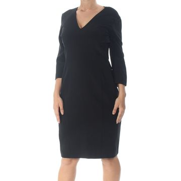 NARCISO RODRIGUEZ Womens Black Long Sleeve V Neck Shift Dress Size: 16