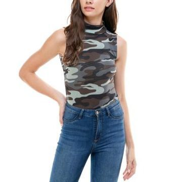 Derek Heart Juniors' Camo Print Sleeveless Bodysuit