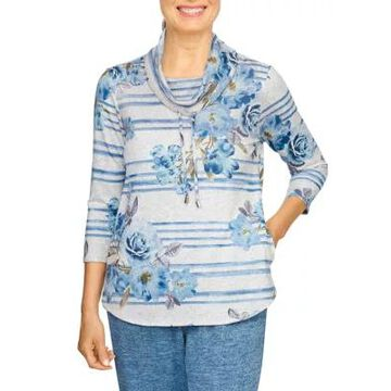 Alfred Dunner Women's Cowl Neck Floral Stripe Pullover - -