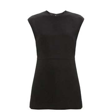 Valentino - Crepe Couture Wool-blend Playsuit - Womens - Black