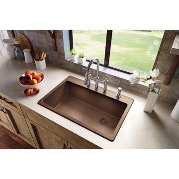 Elkay Quartz Classic Drop-In 33-in x 22-in Mocha Single Bowl Kitchen Sink in Brown   ELG13322MC0