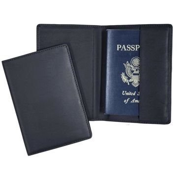 Royce Leather RFID-blocking Guine Leather Passport Travel Document Organizer