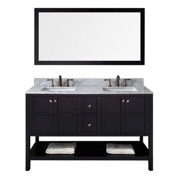 Virtu USA Winterfell 60-in Espresso Undermount Double Sink Bathroom Vanity with Italian Carrara White Marble Top (Mirror and Faucet Included) in Brown
