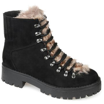 Brinley Co. Womens Comfort Foam Lace-Up Combat Boot