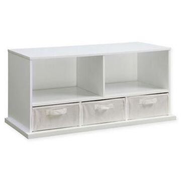 Badger Basket 3-Basket Stackable Shelf Storage Cubby in White