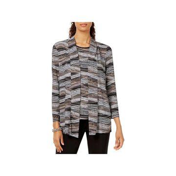 Kasper Womens Cardigan Top Textured 3/4 Sleeves