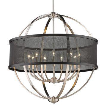 Golden Lighting Colson 9-Light Pewter Farmhouse Chandelier   3167-9 PW-BLK