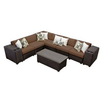 TK Classics Venice 9-Piece Outdoor Wicker Sofa Set, Cocoa