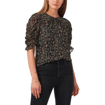 1.state Puff Short Sleeve Gathered Crew Neck Top