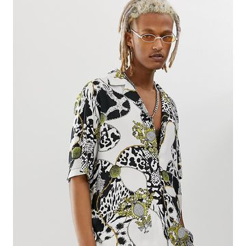 Reclaimed Vintage baroque animal chain print shirt-White