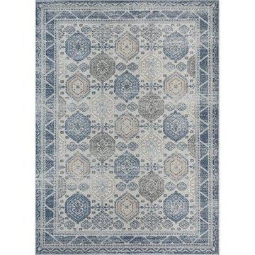 Well Woven Omaha Vintage Abigail Blue Distressed Geometric 7'10