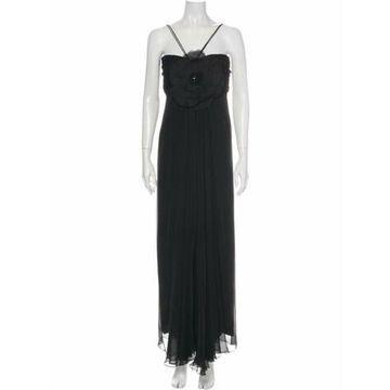 Square Neckline Long Dress Black