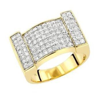 Men's Ring Round Diamond Band 1.5ctw in 14k Gold by Luxurman