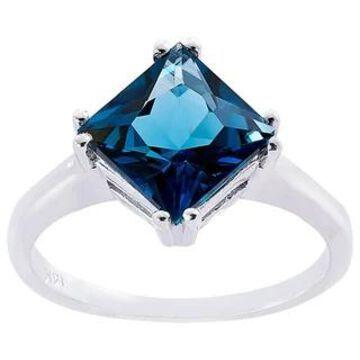 Oravo 14k White Gold 2 3/4ct TGW London Blue Topaz Princess-cut Solitaire Ring