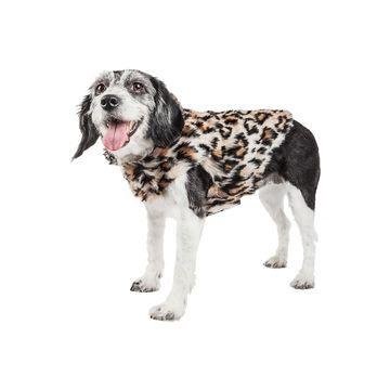 Pet Life Luxe 'Lab-Pard' Dazzling Leopard Patterned Mink Fur Dog Coat Jacket