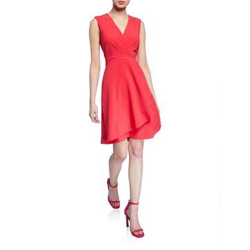 Pleated Faux-Wrap A-Line Dress