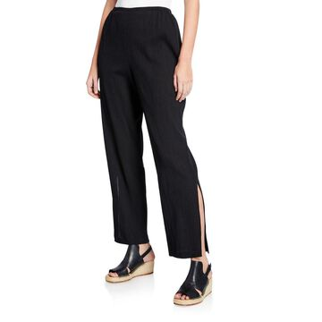 Crinkle Cotton Pants with Slits