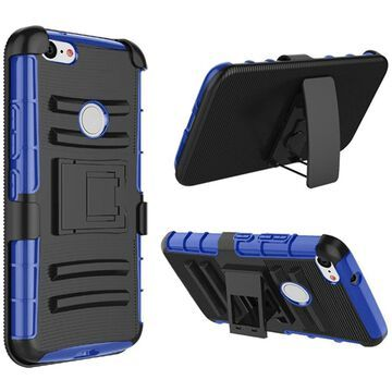 Insten Dual Layer Hybrid Stand PC/TPU Rubber Holster Case Cover For Google Pixel 3 - Black/Blue