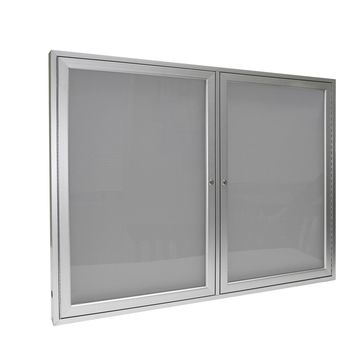 Ghent 2 Door Enclosed Vinyl Bulletin Board with Satin Frame 3H x 4W Silver