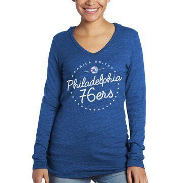Philadelphia 76ers Majestic Threads Women's Tri-Blend Lightweight V-Neck Pullover Hoodie - Royal