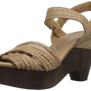 Naughty Monkey Womens Calla Leather Open Toe Casual Slingback, Cream, Size 11.5