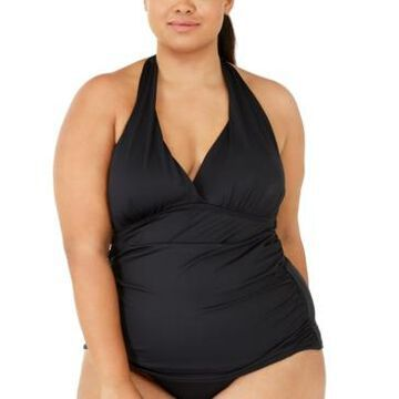 La Blanca Plus Size Island Goddess Solid Halter Tankini Top Women's Swimsuit